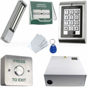 access control kit 15 keypad proximity key fob access system with lock release exit button. Black Bedroom Furniture Sets. Home Design Ideas
